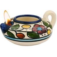 Oil Lamp - Armenian Ceramic - Flowers