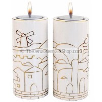 Pair of Jerusalem Ceramic Candle Holders