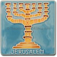 Ceramic Fridge Magnet Jerusalem Menorah