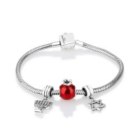 gracelet - braceLet' jewish symbols  - menorah, pomegrante and star of david