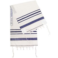 Classic Tallit / Prayer Shawl - Blue and Silver - Wool