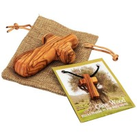 Comfort Cross from Bethlehem and Olive Wood Cross Necklace in Sackcloth Bag