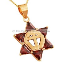 Goldfill Cross within Star of David Pendant with Garnet by 'Marina'