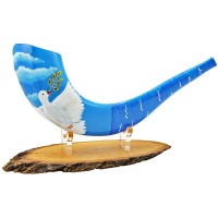 Ram's Decorated Shofar By Artist Sarit Romano - Dove of Peace and Olive Branch