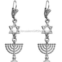 Menorah Star of David Earrings - Oxidized