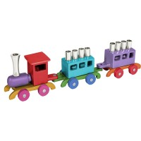 Yair Emanuel Children's Train Hanukkah Menorah - Multicolor