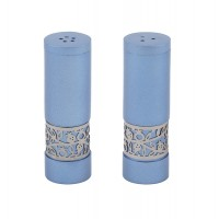 Yair Emanuel | Salt & Pepper Shakers | Anodized Aluminum | Pomegranate – Blue and Silver
