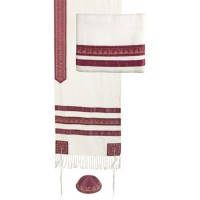 Yair Emanuel 'Stripes' Blended Silk Embroidered Prayer Shawl Tallit, Kippa and Bag - Maroon