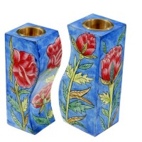 Yair Emanuel - Hand-Painted Pair of Candle Holders - Roses Design