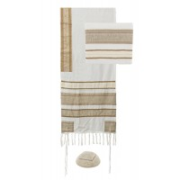 Yair Emanuel Gold Striped Cotton Tallit Prayer Shawl Set with Hebrew Blessing