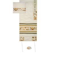 Yair Emanuel 'Jewish Symbols' Embroidered Blended Silk Prayer Shawl / Tallit - Gold