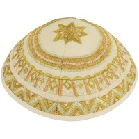'Emanuel' Gold Silk Thread Pattern Kippa
