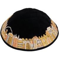 'Emanuel' Silk Jerusalem Kippa - Gold