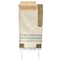 Yair Emanuel | Embroidered Organza | Prayer Shawl Tallit Set - Gold Blue