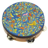 Yair Emanuel Hand-Painted Leather 'Peacocks' Tambourine