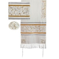 Yair Emanuel 'Birds and Flowers' Embroidered Raw Silk Prayer Shawl / Tallit Set - Gold/White