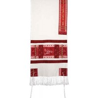 Yair Emanuel 'Pomegranates' Embroidered Raw Silk Prayer Shawl / Tallit - Red / Pink