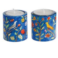 Yair Emanuel Hand Painted Round Candle Holders - Wildlife (small)