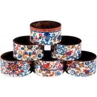 Yair Emanuel Six Set Wooden Napkin Holder Rings - Flowers
