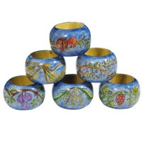 Yair Emanuel Hand-Painted Six Set Wooden Napkin Holder Rings - 7 Species
