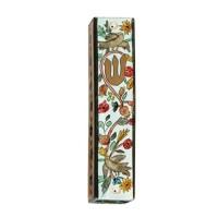 Yair Emanuel | Hand-painted Wooden Mezuzah | Birds and Flowers