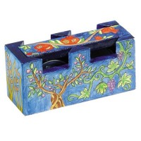 Yair Emanuel Hand Painted Travel Shabbat Candle Holder - Seven Species
