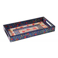 Yair Emanuel | Serving Tray | Hand-painted Wood | Pomegranates