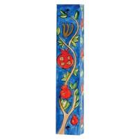 Yair Emanuel | Hand-painted Wooden Mezuzah | Pomegranate Branches