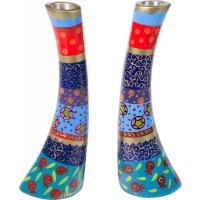Yair Emanuel Hand Painted Pomegranate Design Anodized Aluminum Candlesticks - Large