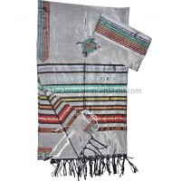 Gabrieli Silk Tallit set - Colorful stripes on Grey