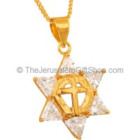 Goldfill Clear Zircon 'Star of David' Pendant with 'Cross'