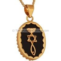 Gold Fill Messianic Seal on Onyx Pendant by 'Marina'