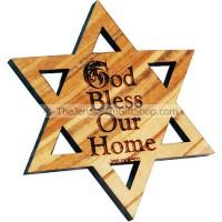 Star of David God Bless Our Home Fridge Magnet