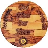 God Bless Our Home - Olive Wood Wall Plaque with Olive Branch and Holy Land Soil - Made in Bethlehem