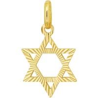 14 Carat Engraved Gold Star of David Pendant