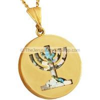 14 Carat Gold Menorah with Roman Glass background Pendant
