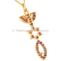 Gold Fill 'Grafted In' Pendant embedded with Amethyst by 'Marina'