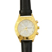 Men's 'Shema Yisrael' in Hebrew Watch - Pilot's Style - Gold White