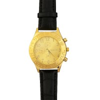 Men's 'Shema Yisrael' in Hebrew Watch - Pilot's Style - Gold face