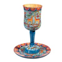 Holy Land Harvesters - Lord's Supper Cup with Saucer - Hand Painted Wood with Stem - Creation