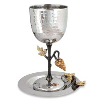 Holy Land Harvesters | Lord's Supper Cup with Stem and Dish | Stainless Steel - Grapes