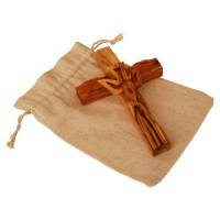 Olive Wood Wall Cross from Jerusalem with Holy Spirit Dove on Sackcloth Gift Bag