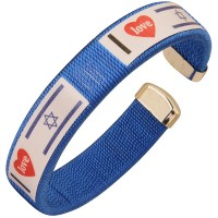 Clip-on Wristband 'I Love Israel' with an Israeli Flag and Heart Bracelet