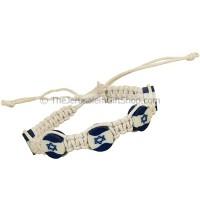 Israel Flag Button Cotton Bracelet - White
