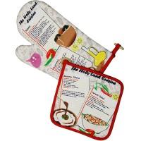 Souvenir Kitchen Set - Holy Land Cuisine - Pot Holder & Oven Glove with Israeli Cuisine: Hummus, Falafel mix and Israeli Salad Recipe
