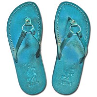 Camel Leather Jesus Sandals - Jericho Style - Colored Blue