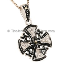 'Jerusalem Cross' Rounded Pendant with Marcasite