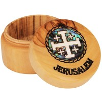 Olive Wood Jewelry Box with Mother of Pearl 'Jerusalem Cross' inlay and 'Jerusalem' Engraving - Round