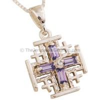 'Jerusalem Cross' Pendant with Purple Cross Design