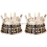 Crown above Jerusalem Candle Holder (pair)